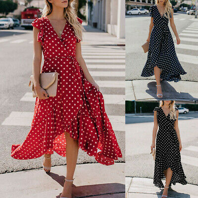 Women's Sexy V-Neck Dots Boho Mini Dress Beach Bohemia Summer Sundrss Maxi Dress