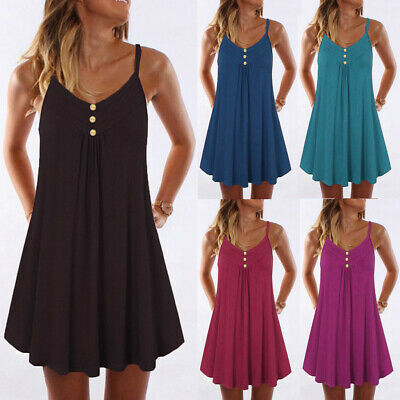 Womens Summer Sleeveless Solid Spaghetti Strap Double Breasted Plain Shift Dress