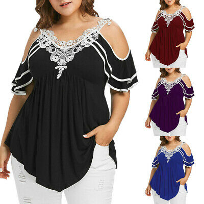 Fashion Womens Plus Size Tiered Lace Appliques Cold Shoulder V-Neck T-shirt Tops