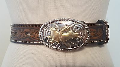 Nocona Brown Leather Belt Bull Riding Two Tone Belt Buckle Sz 24