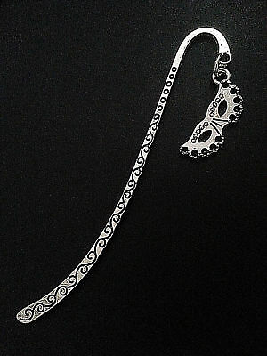 New Antique Silver Metal Bookmark with Masquerade Mask Charm Accessory Gift