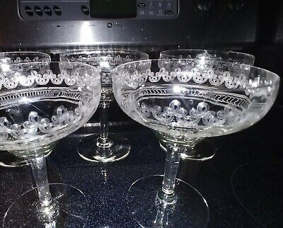 5 RARE ANTIQUE Pre-1900 FOSTORIA Needle Etched Optic CHAMPAGNE Crystal GLASSWARE