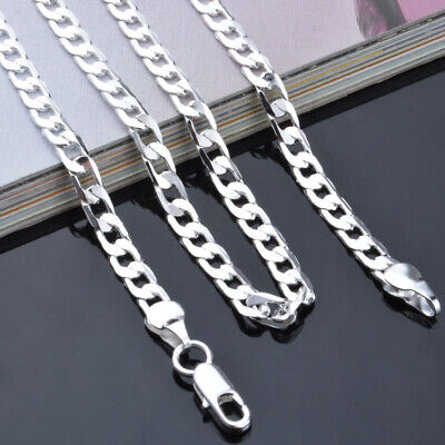 """925 Sterling Solid Silver Cuban Chain Necklace For Men Jewelry Gifts 4mm 16-24"""""""