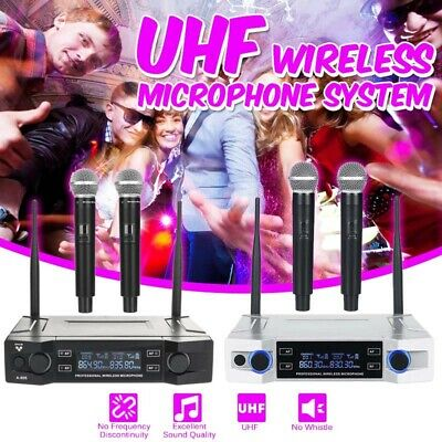Professional UHF Wireless Microphone System with 2 Handheld Cordless Microphones