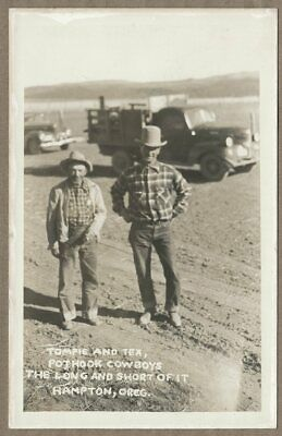 circa 1940's Hampton OR Pothook Ranch Cowboys RPPC (Central Oregon); real photo
