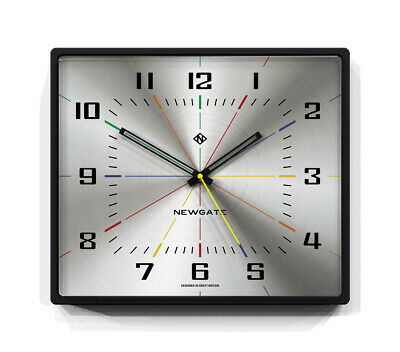 Large Square Silver Wall Clock Silent Sweep Metal Dial - Newgate Clocks 36X42Cm