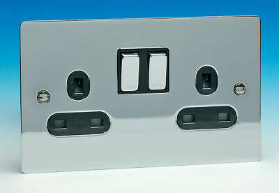 4 Pack Ultra Slim Modern switched plug socket Mirror Chrome 13A 2G Black Insert