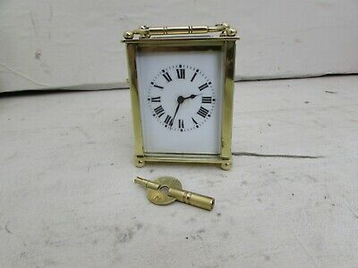 Antique French Brass 8-Day Carriage Clock, Ball Feet, Fully Running With Key