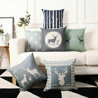 Deer Pillow Home Sika Linen Cushion Decor Cover Cotton Waist Case Throw Sofa