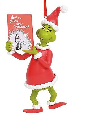 Grinch Reading How the Grinch Stole Christmas Book Holiday Ornament