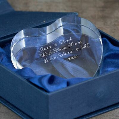 Engraved Clear Heart Crystal Paperweight - Personalised with any message