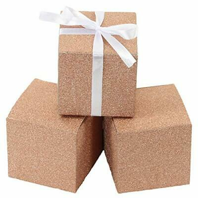 Andaz Press Real Glitter Gift Favor Boxes Rose Gold in Bulk 50 Pack Count 3 x