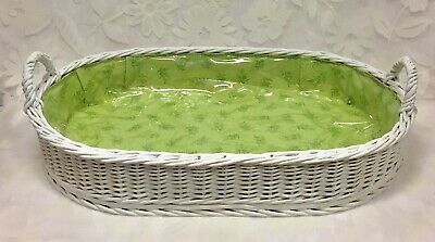 Vintage Rare White Wicker Oval Handled Serving Tray Large