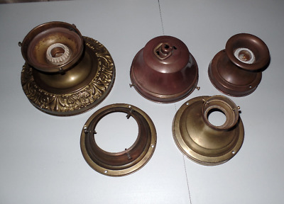 Lot 5 Antique Brass Shade Holders For Ceiling Glass Shades