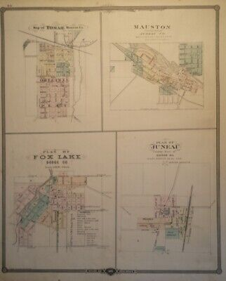 1877 Maps of Cities Beaver Dam Waupun New Lisbon Juneau Tomah Mauston Wisconsin