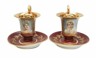Attractive Pair of Sevres Porcelain Cup & Saucer Napoleon & Josephine Signed