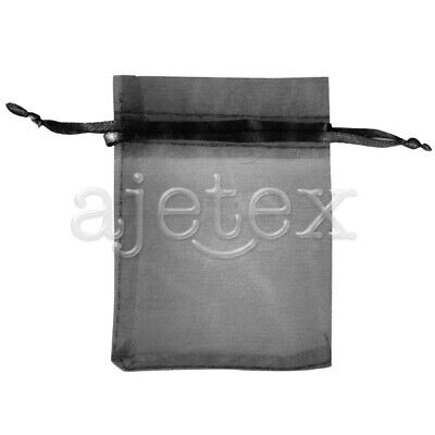 25pcs 9x12cm Black ORGANZA XMAS GIFT BAGS Wedding Favor Jewelry Candy Pouches IF