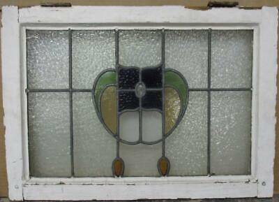 "MID SIZED OLD ENGLISH LEADED STAINED GLASS WINDOW Pretty Floral Drops 24"" x 17"""