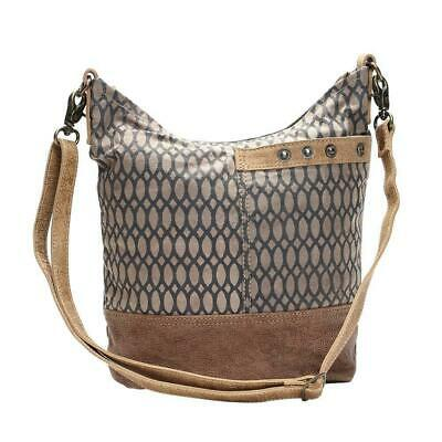 Honey Bee Print Shoulder Bag | 90% Cotton Canvas + 10% Genuine Leather