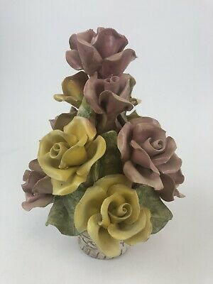 Authentic Italian Capodimonte Multicolor Rose Flower Basket Made In Italy