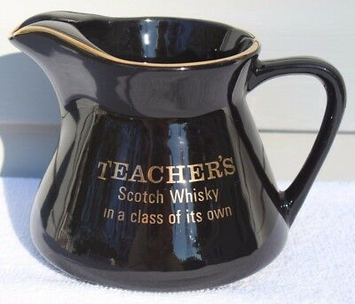 Vintage Teacher's Scotch Whiskey In A Class Of Its Own Ceramic Water Bar Pitcher