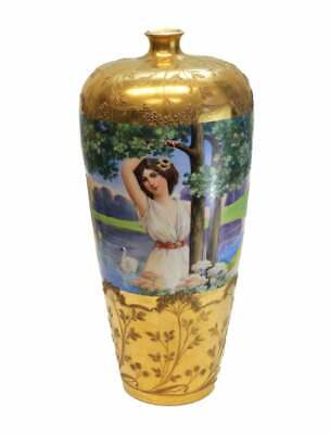 Dresden Germany Hand Painted Porcelain Vase by Richard Klemm, circa 1900