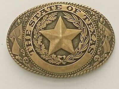 Tony Lama State Series Belt Buckle - State of Texas - Brass
