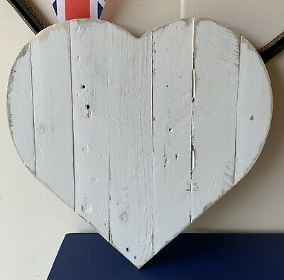 Painted White Rustic Reclaimed Wooden Vintage Style Heart Sign - Large