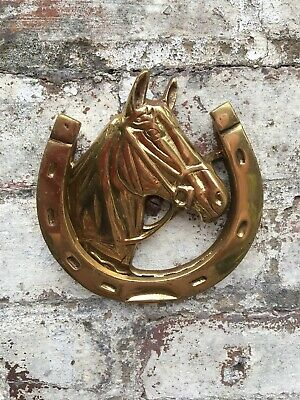 Vintage Brass Horse Shoe & Head Door Knocker