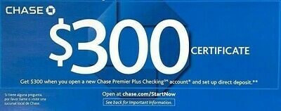 Chase coupon $300 checking Bonus Offer Coupon Code via E-Delivery, Exp: 8/26/19