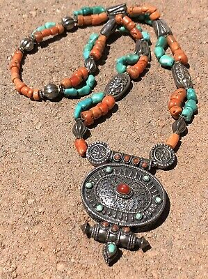 Antique Qing Dynasty Tibetan Chinese Silver Amulet Red Coral Turquoise Necklace