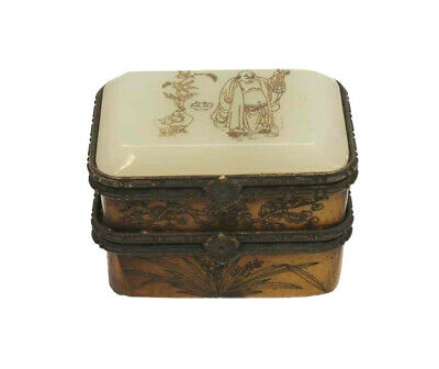 Chinese Carved White Jade Wood & Bronze Double Compartment Trinket Box, c1900