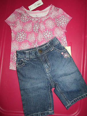 Sonoma & Old Navy Girls 2pc Floral Top & Capri's Size 6-12 Months NWT