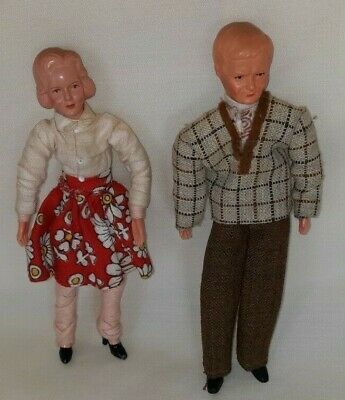 Vintage Pair Dollhouse Dolls Caco Germany $33.33