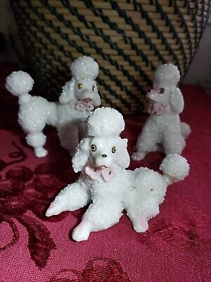 Vtg 3 Spaghetti French Poodles W/Pink Accents Figurines~Japan~Excellent Cond