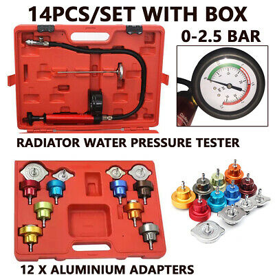 Radiator Pressure Compression Tester Kit 14pcs Cooling System Leak Detector Tool