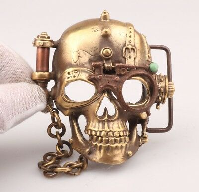 Chinese Old Bronze Hand-Carved Skull Statue Belt Buckle Men's Decoration Gift