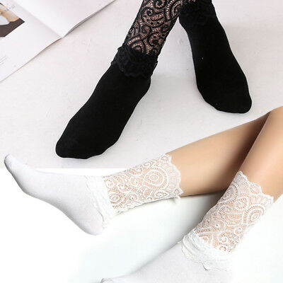 3 Pairs Women Girls Socks Hollow Lace Spliced High Ankle Solid Socks Fashion New