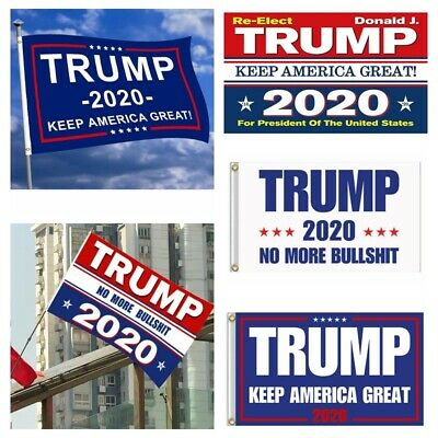3×5' Donald Trump 2020 Keep America Great/No More BS Flag US President Banner aa