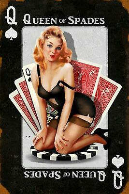 Queen of Spades Man Cave DECOR SIGN 4x6 magnet Fridge Bar Toolbox Shop Pinup BBC