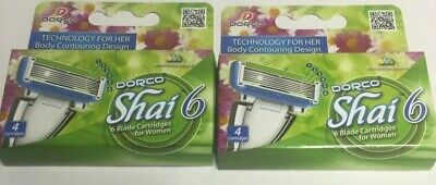 8 Dorco Shai 6 Blades Razor Six Blade Moisturizing Cartridges Women