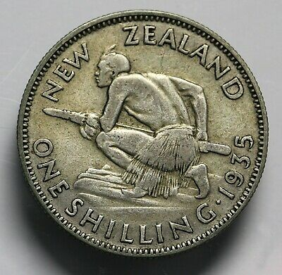 1935 New Zealand NZ Silver Shilling Coin George V KM #3