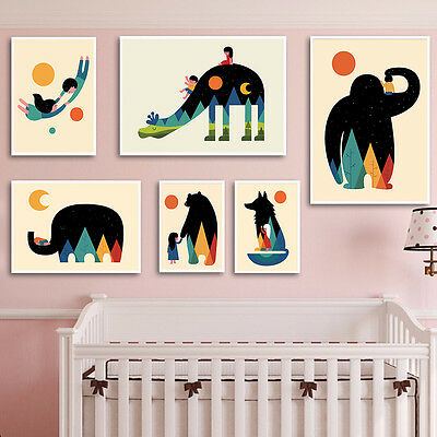 Nordic Style Nursery Cartoon Animal Canvas Art Poster Children Room Decoration