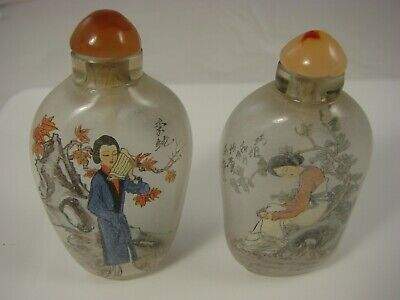 Pair of Chinese Reverse Painted Glass Snuff Bottles