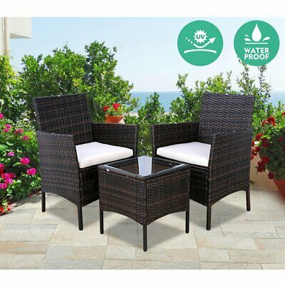 3PCS PE Rattan Wicker Sofa Bistro Set With Thick Cushion Furniture Patio Outdoor