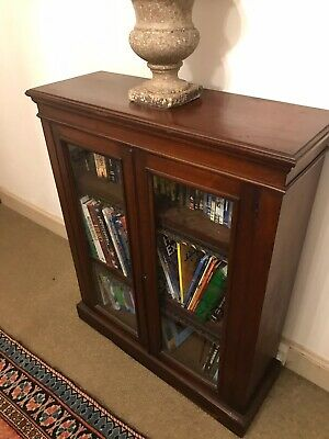 Victorian Library Bookcase In Mahogany With Glazed Doors 108Cm Tall 106Cm Wide