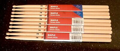 5 x PAIRS MAPLE DRUM STICKS SIZE 7A WOODEN TIP BY CHORD M7AW
