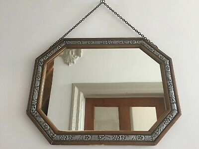 French Art Deco Vintage Wall Mirror Lightly Foxed Glass Original Chain 41cm m264