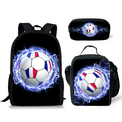3pcs Soccer Backpack School Bags Lunch Box Pencil Case Laptop Travel Rucksack