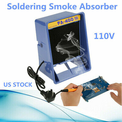 Solder Smoke Absorber Remover Fume Extractor Air Filter Fan Soldering Blue